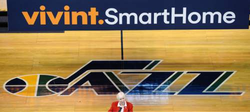 Steve Griffin  |  The Salt Lake Tribune  Gail Miller announces that Provo, Utah company Vivint is the new naming rights sponsor for the former EnergySolutions Arena during an event at the arena Monday, October 26, 2015. The Jazz will play their home games for the next 10 years at the Vivint Smart Home Arena in Salt Lake City,