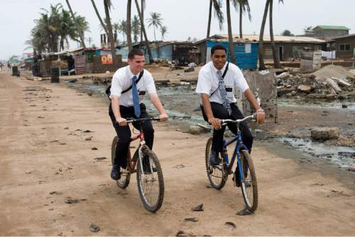 Courtesy LDS Church LDS missionaries in Ghana