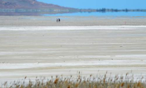 Steve Griffin / The Salt Lake Tribune  People walk on the dry lake bottom of the Great Salt Lake in Salt Lake City Thursday May 26, 2016. The drying of the lake could lead to toxic dust clouds that may impact the new prison. A new study from a University of Utah professor intends to determine what is in the dust that inmates and guards may breathe.