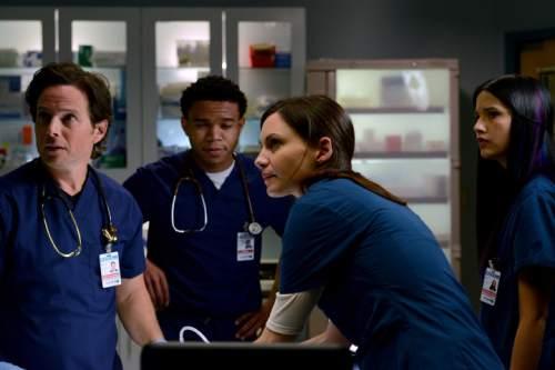 "Scott Wolf as Dr. Scott Clemmens, Robert Bailey Jr. as Dr. Paul Cummings, Tanaya Beatty as Shannon Rivera and Jill Flint as Dr. Jordan Alexander in ""The Night Shift."" Ursula Coyote     NBC"