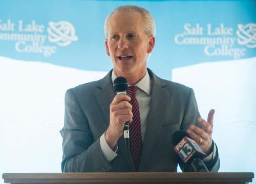 Rick Egan  |  The Salt Lake Tribune   Utah Senate President Wayne Neiderhauser says a few words at the ceremonial groundbreaking for the new Westpointe Career and Technical Education Center, Wednesday, June 1, 2016.