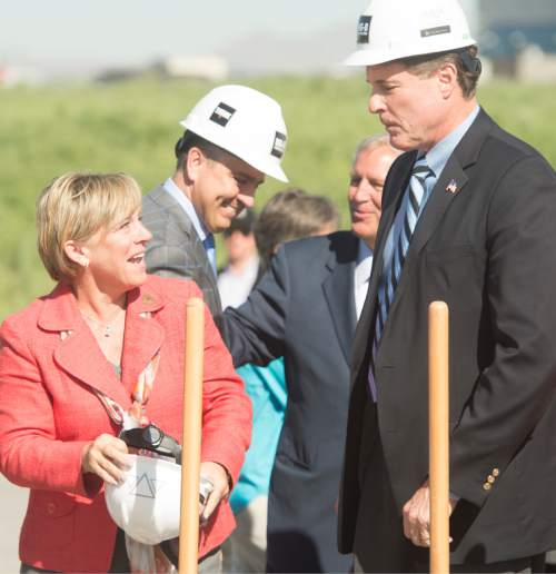 Rick Egan  |  The Salt Lake Tribune  Dr. Deneece G. Huftalin, President of Salt Lake Community College, chats with Rep. Jim Dunnigan, after the ceremonial groundbreaking for the new Westpointe Career and Technical Education Center, Wednesday, June 1, 2016.