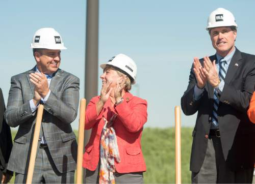 Rick Egan  |  The Salt Lake Tribune  Greg Hughes, Utah Speaker of the House, Dr. Deneece G. Huftalin, President of Salt Lake Community College, and Rep. Jim Dunnigan, clap after the ceremonial groundbreaking for the new Westpointe Career and Technical Education Center, Wednesday, June 1, 2016.