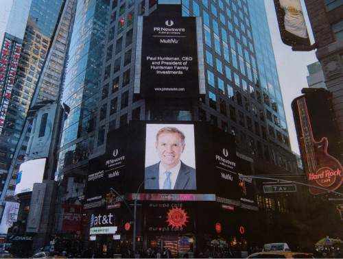 Photo courtesy of Paul Huntsman.   Times Square in New York City on Nov. 16, 2015, when the Huntsman family's private-equity firm -- headed by Paul C. Huntsman-- announced its first major acquisition: American Pacific Corp., a Cedar City-based maker of chemicals used in rocket fuels.