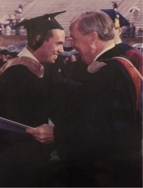 Photo courtesy of Paul Huntsman.   Paul Huntsman and his father, Jon Sr., at the younger's 2000 graduation from the University of Pennsylvania's Wharton School.