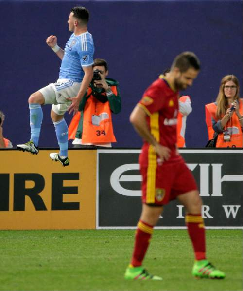 New York City FC midfielder Jack Harrison, left, reacts after scoring against Real Salt Lake during the second half of an MLS soccer game, Thursday, June 2, 2016, in New York. Real Salt Lake won 3-2. (AP Photo/Julie Jacobson)