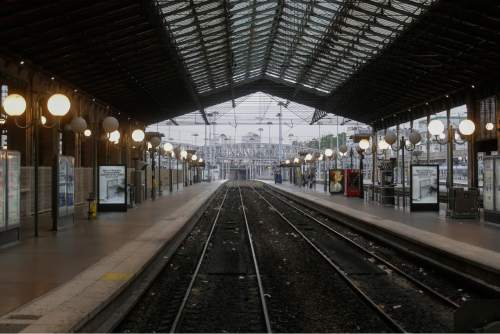 The platforms are empty during a railway strike at the Gare du Nord train station, in Paris, Thursday, June 2, 2016. Workers at the SNCF national rail authority, whose train service will be crucial to football's Euro 2016 spectators, are on an open-ended strike to protest their working conditions and a controversial government labor reform. (AP Photo/Markus Schreiber)