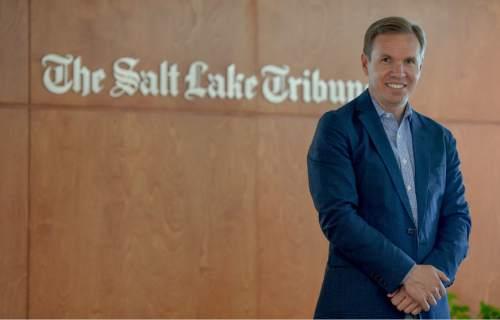 Francisco Kjolseth | The Salt Lake Tribune The Salt Lake Tribune' new owner, Paul Huntsman, visits the offices to wrap up the final details on Tuesday, May 31, 2016.