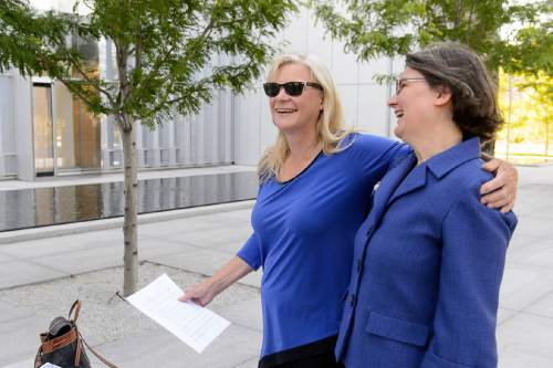 Trent Nelson  |  The Salt Lake Tribune Joan O'Brien of Utah Newspaper Project/Citizens for Two Voices and attorney Karra Porter, right, announce that the group was dropping its antitrust lawsuit as the sale of The Salt Lake Tribune to Paul Huntsman closed, Tuesday May 31, 2016.