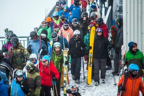 Chris Detrick  |  The Salt Lake Tribune Skiers and snowboarders offload the tram at Hidden Peak at Snowbird Wednesday December 30, 2015.