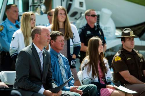 Chris Detrick  |  The Salt Lake Tribune Lt. Governor Spencer Cox listens during a 'Stop to Talk, Stop to Text' safety initiative press conference in at Staker Parson Paving in Draper Thursday June 2, 2016.