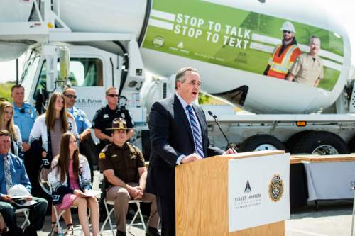 Chris Detrick  |  The Salt Lake Tribune Staker Parson Companies CEO Scott Parson speaks during a 'Stop to Talk, Stop to Text' safety initiative press conference in at Staker Parson Paving in Draper Thursday June 2, 2016.