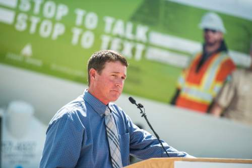 Chris Detrick  |  The Salt Lake Tribune Lee Goodrich speaks about his nephew Chet Goodrich, who was killed a year ago by a distracted driver, during a 'Stop to Talk, Stop to Text' safety initiative press conference in at Staker Parson Paving in Draper Thursday June 2, 2016.
