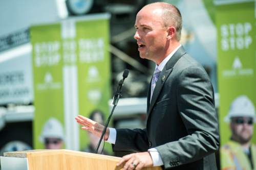 Chris Detrick  |  The Salt Lake Tribune Lt. Governor Spencer Cox speaks during a 'Stop to Talk, Stop to Text' safety initiative press conference in at Staker Parson Paving in Draper Thursday June 2, 2016.