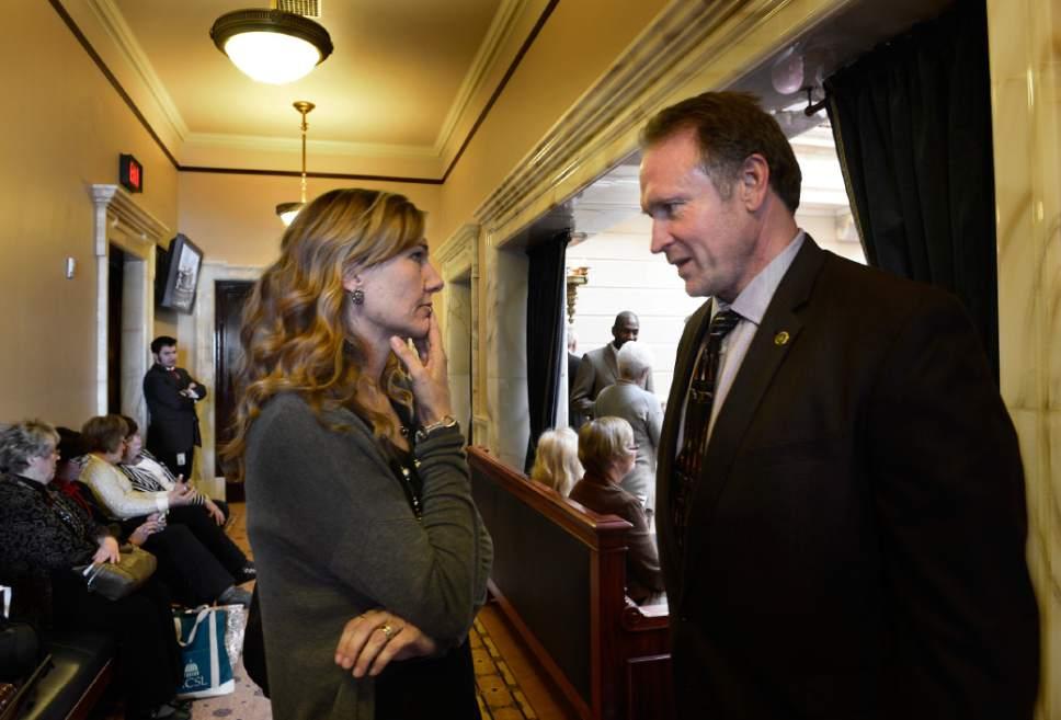 Scott Sommerdorf       Tribune file photo Medical Marijuana lobbyist Christine Stenquist speaks with Senator Mark Madsen, R-Saratoga Springs, earlier in the legislative session.