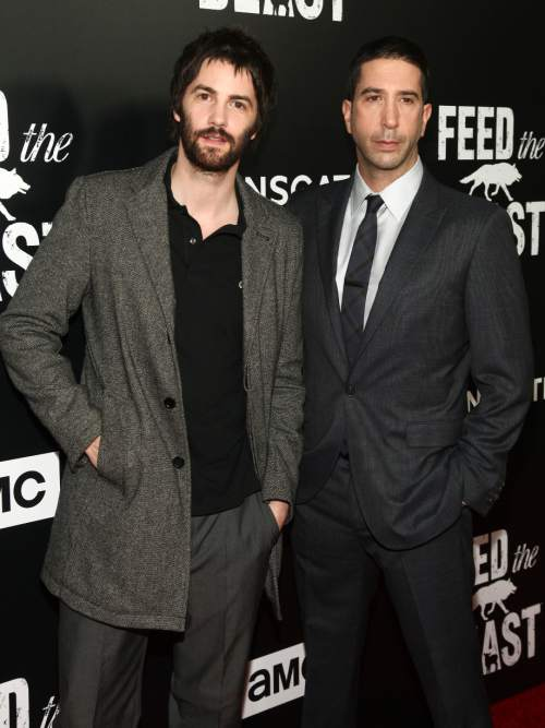 "FILE - In this May 23, 2016 file photo, Jim Sturgess, left, and David Schwimmer attend the premiere screening of AMC's new series, ""Feed The Beast"" in New York. The show premieres on Sunday at 10 p.m. ET. (Photo by Andy Kropa/Invision/AP, FIle)"