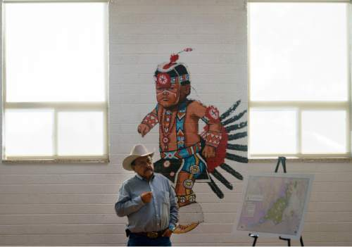 Steve Griffin / The Salt Lake Tribune  Utah Dine Bikeyah board member Albert Holiday listens as Utah Dine Bikeyah chairman Willie Grayeyes answers questions during a stop at the Urban Indian Center in Salt Lake City Wednesday June 1, 2016.  Five board members are touring the state meeting with Native Americans to drum up support for the Bears Ears national monument and answer questions in the face of allegations their groups is a front for outside environmental groups.