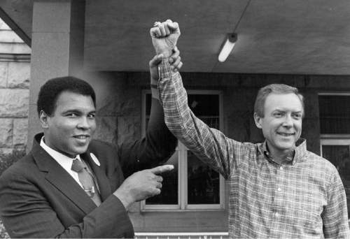 Tribune File Photo  Muhammad Ali and Sen Orrin Hatch, Sept. 02, 1988.