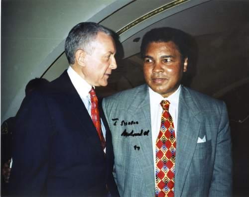 Tribune File Photo  Utah Sen. Orrin Hatch and Muhammad Ali converse at fundraising event in Salt Lake City.