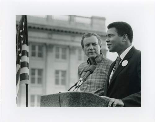 Courtesy      Sen. Orrin Hatch's Office  Sen. Orrin Hatch on the campaign trail along with Muhammad Ali during the 1988 election.