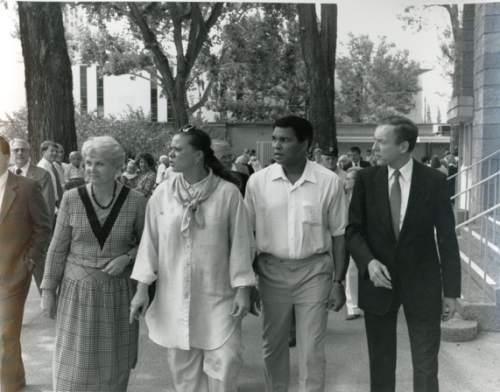 Courtesy      Sen. Orrin Hatch's office  Utah Sen. Orrin Hatch, far right, on the campaign trail along with Muhammad Ali, second right, during the 1988 election.