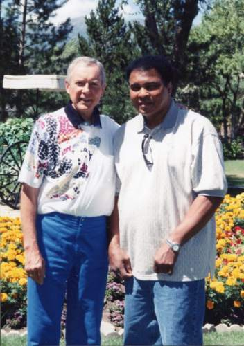 Courtesy      Sen. Orrin Hatch's office  Utah Sen. Orrin Hatch and Muhammad Ali at the Homestead Resort during Hatch's golf tournament.