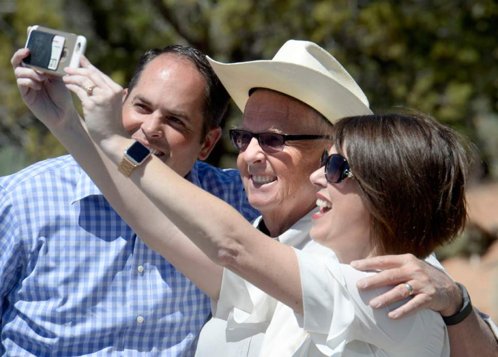 Al Hartmann  |  The Salt Lake Tribune Rep. Mike Noel, R-Kanab, center,  poses for a picture with friends at a meeting with Utah Senator Orrin Hatch and Gov. Gary Herbert with San Juan County residents and many members of the Navajo and other Native American tribal members over the proposed Bears Ears National Monument Thursday June 2.