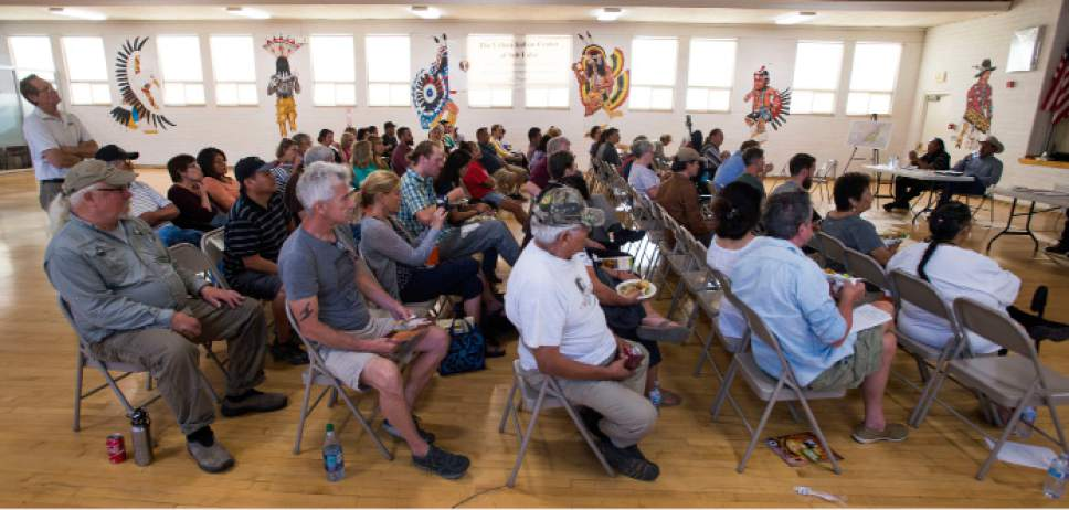 Steve Griffin / The Salt Lake Tribune  People attend a meeting as five Utah Dine Bikeyah board members stop at the Urban Indian Center in Salt Lake City Wednesday June 1, 2016.  The board members are touring the state meeting with Native Americans to drum up support for the Bears Ears national monument and answer questions in the face of allegations their groups is a front for outside environmental groups.