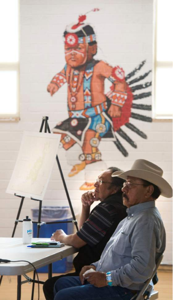 Steve Griffin / The Salt Lake Tribune  Utah Dine Bikeyah board members Jonah Yellowman and Albert Holiday answer questions during a stop at the Urban Indian Center in Salt Lake City Wednesday June 1, 2016.  Five board members are touring the state meeting with Native Americans to drum up support for the Bears Ears national monument and answer questions in the face of allegations their groups is a front for outside environmental groups.
