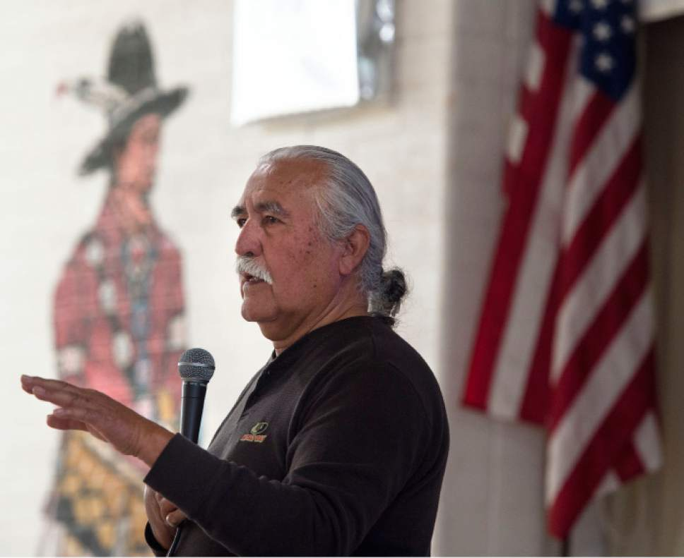 Steve Griffin  |  The Salt Lake Tribune Utah Dine Bikeyah chairman Willie Grayeyes answers questions during a stop at the Urban Indian Center in Salt Lake City Wednesday June 1, 2016.  Five board members are touring the state meeting with Native Americans to drum up support for the Bears Ears national monument and answer questions in the face of allegations their groups is a front for outside environmental groups.