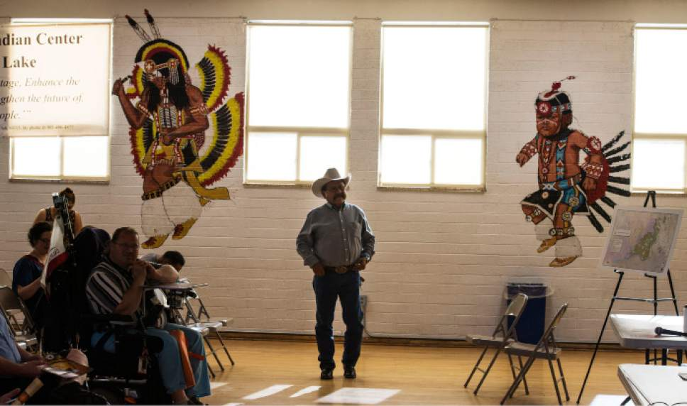 Steve Griffin / The Salt Lake Tribune  Utah Dine Bikeyah board member Albert Holiday prepares for a meeting during a  stop at the Urban Indian Center in Salt Lake City Wednesday June 1, 2016.  The board members are touring the state meeting with Native Americans to drum up support for the Bears Ears national monument and answer questions in the face of allegations their groups is a front for outside environmental groups.