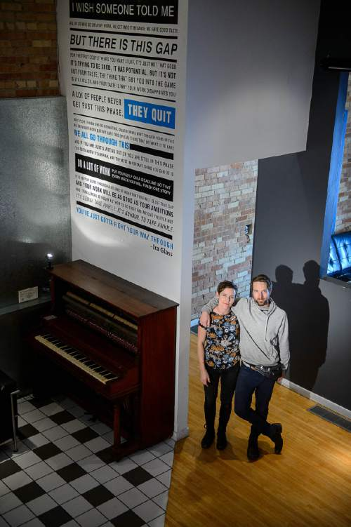 Trent Nelson     The Salt Lake Tribune Photo Collective Studios co-owners Jessie Jude Gilmore and Dave Brewer at their downtown Salt Lake City location, Thursday May 26, 2016. The group has purchased the Ladies Literary Club building on South Temple from Utah Heritage Foundation. They will be turning it into an cross-disciplinary arts and education space, in keeping with the building's history of devotion to culture and learning.