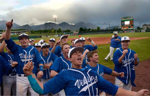 Scott Sommerdorf      The Salt Lake Tribune Pleasant Grove relief pitcher Payton Henry celebrates with team mates after the final out. Pleasant Grove defeated Bingham 6-2 to win the Utah 5A title, Thursday, May 21, 2015.