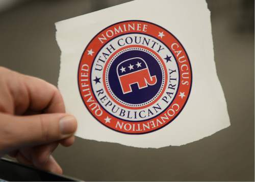 Scott Sommerdorf   |  The Salt Lake Tribune   The Utah Republican Party Central Committee handed out this sticker to indicate support for the candidates selected via the caucus-convention system, Saturday, June 4, 2016.