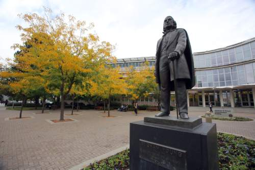 Francisco Kjolseth  |  Tribune file photo  A statue of Brigham Young on the university campus that bears his name in Provo, Utah.