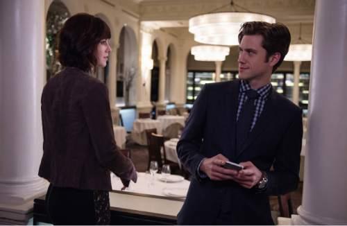 "Mary Elizabeth Winstead as Laurel and Aaron Tveit as Gareth in ""BrainDead."" Macall Polay  |  CBS"
