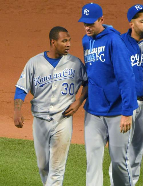 Kansas City Royals starting pitcher Yordano Ventura is walked off the field after drilling Baltimore Orioles batter Manny Machado, sparking a brawl during the fifth inning of a baseball game, Tuesday, June 7, 2016 at Camden Yards in Baltimore.  (Karl Merton Ferron/The Baltimore Sun via AP)  WASHINGTON EXAMINER OUT; MANDATORY CREDIT