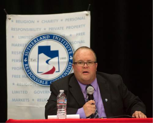 Steve Griffin / The Salt Lake Tribune  District 4 State School Board candidates Brad Asay participates in a debate sponsored by the Hinkley Institute, Sutherland Institute, and the Utah Association of Public Charter Schools at the North Davis Preparatory Academy in Layton Wednesday June 8, 2016.