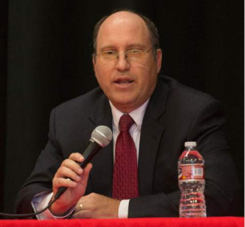 Steve Griffin / The Salt Lake Tribune  District 4 State School Board candidate Dave Thomas, participates in a debate sponsored by the Hinkley Institute, Sutherland Institute, and the Utah Association of Public Charter Schools at the North Davis Preparatory Academy in Layton Wednesday June 8, 2016.