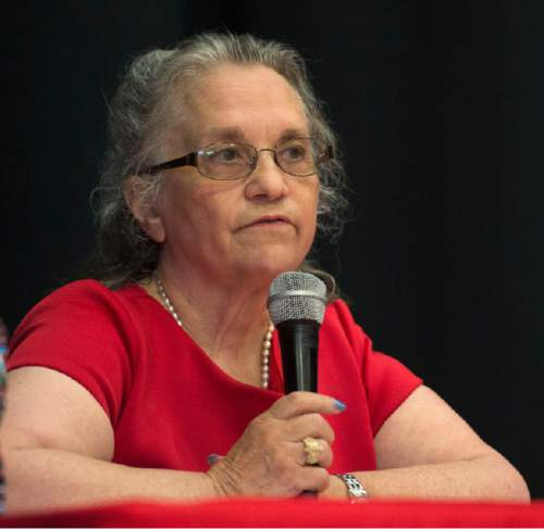 Steve Griffin / The Salt Lake Tribune  District 4 State School Board candidate Elizabeth Carlin participates in a debate sponsored by the Hinkley Institute, Sutherland Institute, and the Utah Association of Public Charter Schools at the North Davis Preparatory Academy in Layton Wednesday June 8, 2016.