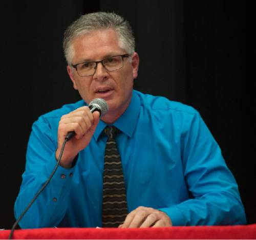 Steve Griffin / The Salt Lake Tribune  District 4 State School Board candidate Brent Strate participates in a debate sponsored by the Hinkley Institute, Sutherland Institute, and the Utah Association of Public Charter Schools at the North Davis Preparatory Academy in Layton Wednesday June 8, 2016.