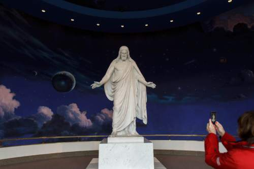 Trent Nelson  |  The Salt Lake Tribune The Christus, a statue of Jesus Christ on display at The Church of Jesus Christ of Latter-day Saints' Temple Square.
