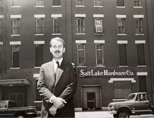 Rick Egan  |  Tribune File Photo  John W. Williams stands in front of the Salt Lake Hardware Co. builiding on July 23, 1990.