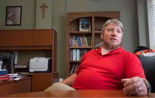 Steve Griffin / The Salt Lake Tribune  Judge Memorial Catholic High School principal Patrick Lambert in his office at the Salt Lake City high school Monday June 6, 2016.