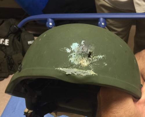 This image provided by the Orlando Police Department shows the helmet an officer in Orlando, Fla., was wearing when responding to the shooting at Pulse Nightclub on Sunday, June 12, 2016. The attack is the worst mass shooting in American history. (Orlando Police Department via AP)