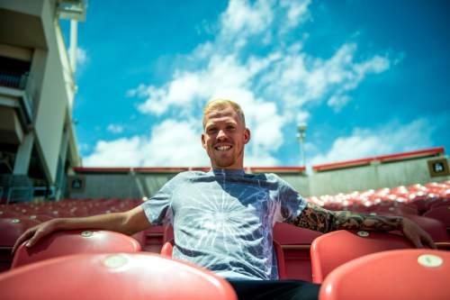 Chris Detrick  |  The Salt Lake Tribune Real midfielder Luke Mulholland poses for a portrait at Rio Tinto Stadium Tuesday May 20, 2014.