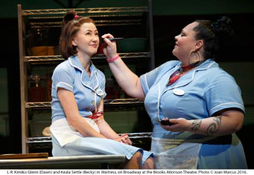 """Actor Keala Settle (right), a graduate of Southern Utah University, originated the role of Becky in Broadway's Tony nominated """"Waitress."""" Joan Marcus     Courtesy"""