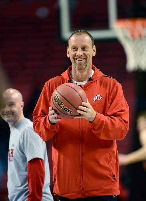 Scott Sommerdorf   |  The Salt Lake Tribune Utah Utes head coach Larry Krystkowiak during the Utes' practice session at the Moda Center in Portland, Wednesday, March 18, 2015.