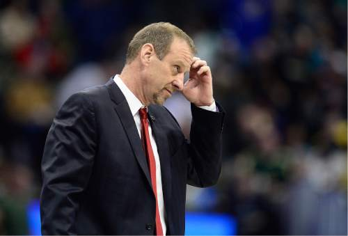 Scott Sommerdorf   |  The Salt Lake Tribune   Utah Utes head coach Larry Krystkowiak walked off the court after the Utes woke up in the second half and pulled away from Fresno State. Utah beat Fresno State 80-69 in Denver, Thursday, March 17, 2016.