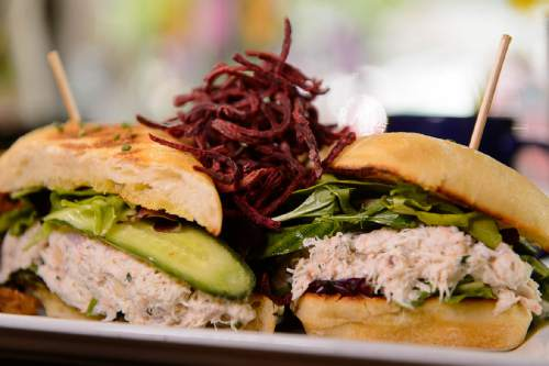 Trent Nelson  |  The Salt Lake Tribune Crab and salmon salad sandwich at Angel Cafe, a new breakfast and lunch spot in Cottonwood Heights, Friday June 10, 2016.